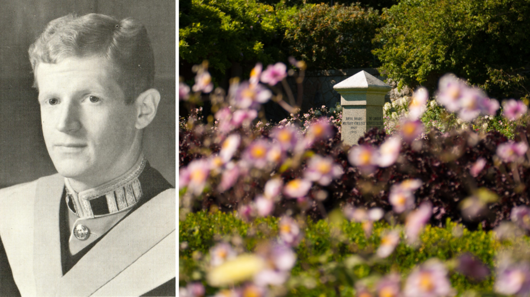 Photo of Ted Bade (left) and the cenotaph in the Italian Gardens.
